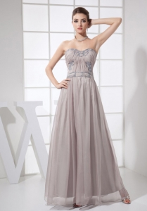 Beading Sweetheart Grey Ruched Prom Evening Dress