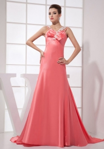 Beading Watermelon Red Straps Prom Party Dress Train