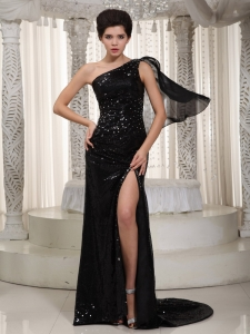 Sequined One Shoulder Celebrity Pageant Dress Black Train