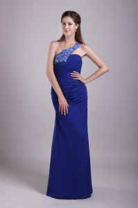 Affordable Blue One Shoulder Appliques Prom Dress