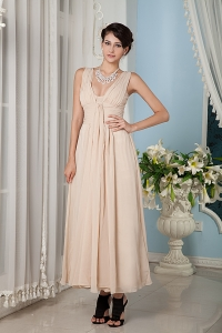 Champagne Ruch Straps Bridesmaid Dress for Weddings