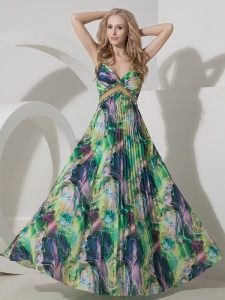 Colorful Print Straps Pleats Beaded Prom Evening Dress