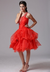 One Shoulder Beaded Cocktail Homecoming Dresses Red