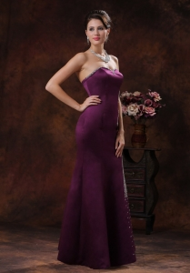 Mermaid Dark Purple Evening Pageant Dresses Beading