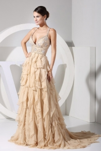 V-neck Embroidery and Ruffles Brush Train Prom Dress