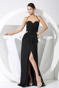 High Slit Halter Balck Prom Celebrity Dresses Train