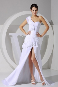 High-low One Shoulder Brush Train Prom Dress with Slips