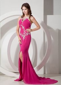 Hot Pink Mermaid Appliques Celebrity Evening Dresses