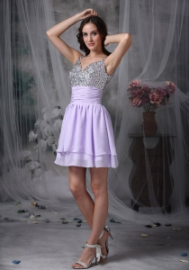 Lilac Beading Straps Ruch Prom Cocktail Dresses