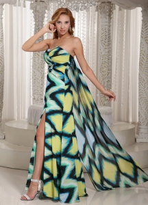 Multi-color Printing Prom Celebrity Dresses High Slit
