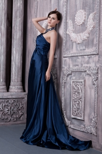 Halter Brush Train Beading Prom Dress Navy Blue