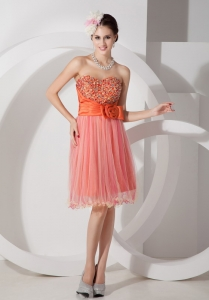 Orange Red Ruch Beading Flower Cocktail Holiday Dress