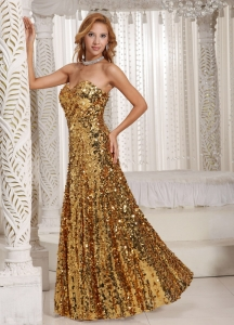 Paillette Gold Sequin Celebrity Prom Dresses Sweetheart