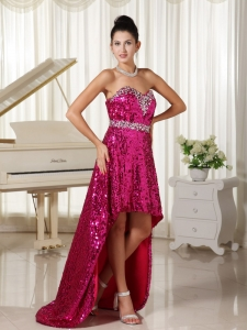 Paillette High-low Party Celebrity Pageant Dresses Red