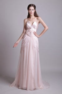 V-neck Strapless Brush Train Pleat Prom Dress