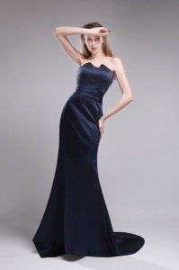 Beading Brush Train Navy Blue Evening Pageant Dresses