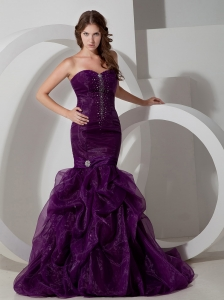 Purple Mermaid Celebrity Pageant Dress Beaded Train