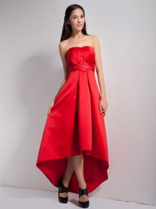 Appliques Red High-low Dama Dresses for Quinceanera