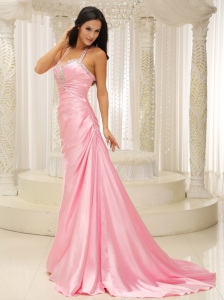 Halter Top Ruched Evening Pageant Dress Rose Pink