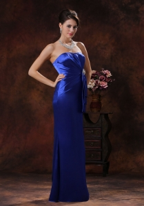 Mermaid Royal Blue Prom Evening Dress Beaded Ruching