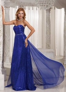 Royal Blue Paillette Prom Celebrity Dresses Train Spring