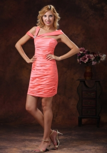 Ruched Cocktail Homecoming Dress Watermelon Red Short