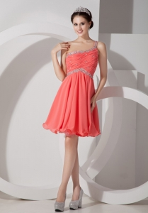 Ruch One Shoulder Beaded Prom Cocktail Dress Watermelon