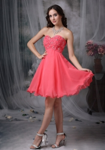 Watermelon Red Beading Prom Cocktail Dresses Sweetheart