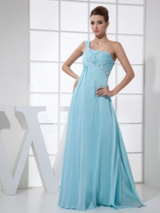 Appliques Light Blue Prom Dress One Shoulder Beaded Ruch