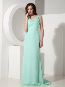 Apple Green Sweep Bow Evening Celebrity Dress V-neck