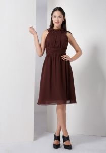 Brown Bateau Dama Dresses for Quinceanera Chiffon Ruch