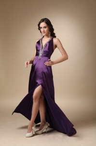 Dark Puprle V-neck Prom Evening Dress Beading Train