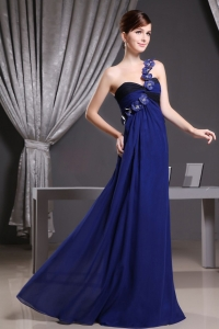 Hand Made Flowers One Shoulder Navy Blue Prom Dresses