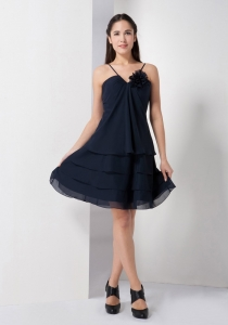 Spaghetti Straps Hand Flower Navy Blue Quince Dama Dress
