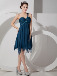 One Shoulder Beaded Ruch Prom Cocktail Dress Navy Blue