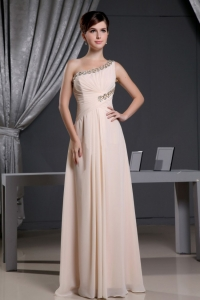 One Shoulder Baby Pink Beading Prom Holiday Dresses