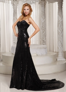 Paillette Sweetheart Court Train Celebrity Evening Dress