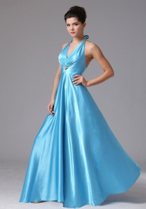 Baby Blue Halter Prom Evening Dress Beaded Ruching