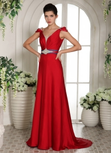 Cap Sleeves V-neck Red Beaded Evening Celebrity Dress