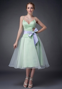 Spaghetti Straps Bow Quince Dama Dresses Apple Green
