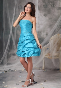 Aqua Blue Taffeta Beading Ruch Prom Homecoming Dresses