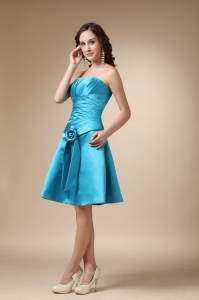 Cocktail Graduation Dresses Hand Made Flower Aqua Blue