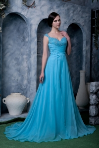 Beaded Straps Sweep Prom Homecoming Dress Aqua Blue