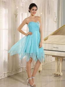 Aqua Blue Beading Cocktail Homecoming Dresses Ruch