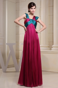 Pleated Straps Prom Evening Dresses Ruching Hot Pink