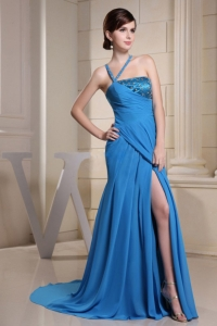 Asymmetrical Neck Blue Beading Prom Homecoming Dress