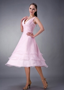 Baby Pink V-neck Ruch Dama Dresses for Quinceanera