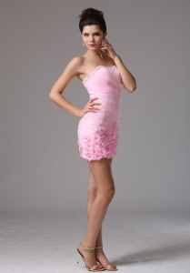 Hand Flowers Ruch Cocktail Graduation Dress Baby Pink