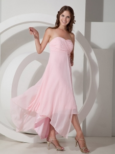 Baby Pink Dama Dresses for Quinceanera Ruched High-low