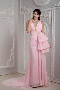 Baby Pink V-neck Prom Party Dress Ruch Train Beading